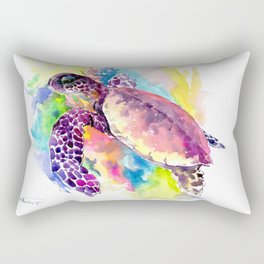 Sea Turtle in Coral Reef, tropical colors sea world purple yellow blue turtle art, turtle illustrati Rectangular Pillow