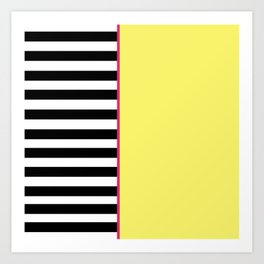 Black + White And Yellow Art Print