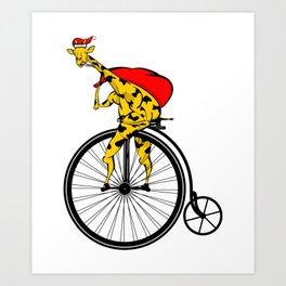 Giraffe Santa Chritmas Art Print