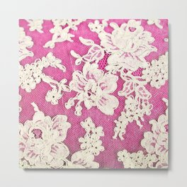 pink lace-photograph of vintage lace Metal Print