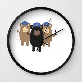 Police Officers bear Wall Clock