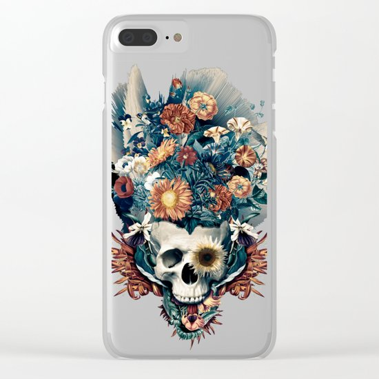 Skull and Flowers Clear iPhone Case