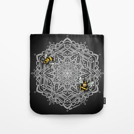 Bee Dance Mandala A - White Tote Bag