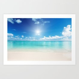 Beach Sun Clouds Ocean Blues Sunshine Waves Seaside Art Print
