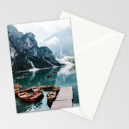 Perfect Scenic Nature View Lake Braies\ Mountain Foggy Sunrise Beautiful Backpacking Landscape Photo Stationery Cards