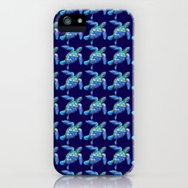 Sea Turtle Pattern Blue iPhone Case