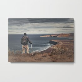 Man at Highs Contemplating The Landscape Metal Print