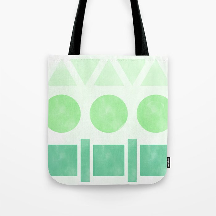 Green Shapes Tote Bag
