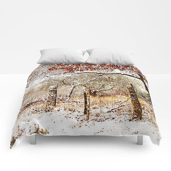 Painterly winter Comforters