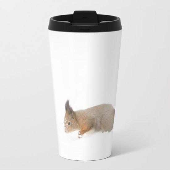 Little squirrel sitting in the snow Metal Travel Mug
