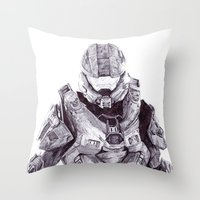 master chief Throw Pillows featuring Master Chief by DeMoose_Art