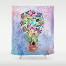 Teal Pink Vintage whimsical cat floral Air balloon Shower Curtain