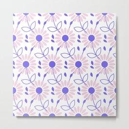 Pastel pink violet hand painted daisies floral pattern Metal Print