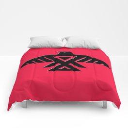 Thunderbird, Emblem of the Anishinaabe people - Black on Red Comforters