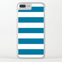 Sea blue - solid color - white stripes pattern Clear iPhone Case