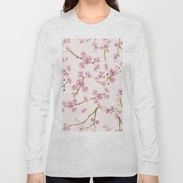 Spring Flowers - Pink Cherry Blossom Pattern Long Sleeve T-shirt