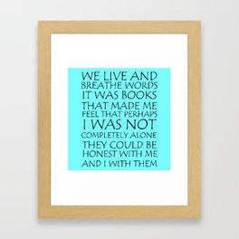 We Live And Breathe Words Framed Art Print