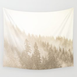Vintage Sepia Fir Trees Wall Tapestry