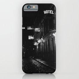 Paris, France city lights, hostel, hotels left bank side streets black and white photograph iPhone Case
