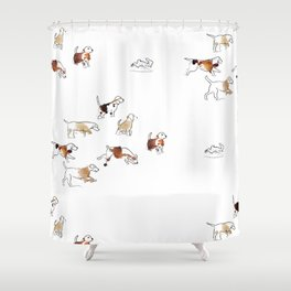 Beagles hunting Shower Curtain