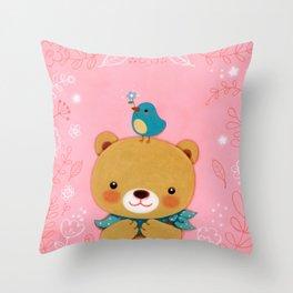 Baby bear with little bird Throw Pillow