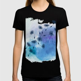 Blue Dandelion Seeds on Watercolor T-shirt