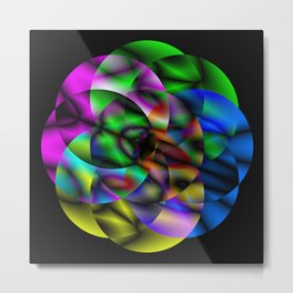 Concentric Vibrancy - Abstract, neon, geometry artwork Metal Print