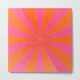 orange and hot pink starburst Metal Print