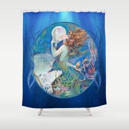 Sensual Art Deco Pearl Mermaid Shower Curtain