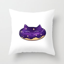 Galaxy Cat Doughnut with Star Sprinkles, Glitter and Sparkles Throw Pillow