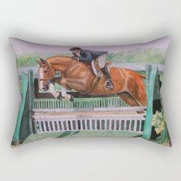Hunter Over Fences chestnut mare Rectangular Pillow