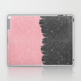 Pretty Girly Pink Black Faux Glitter Brushstroke Laptop & iPad Skin