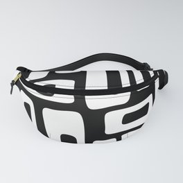 Retro Mid Century Modern Abstract Pattern 335 Black and White Fanny Pack