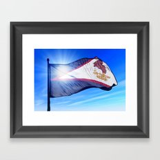 American Samoa flag waving on the wind Framed Art Print