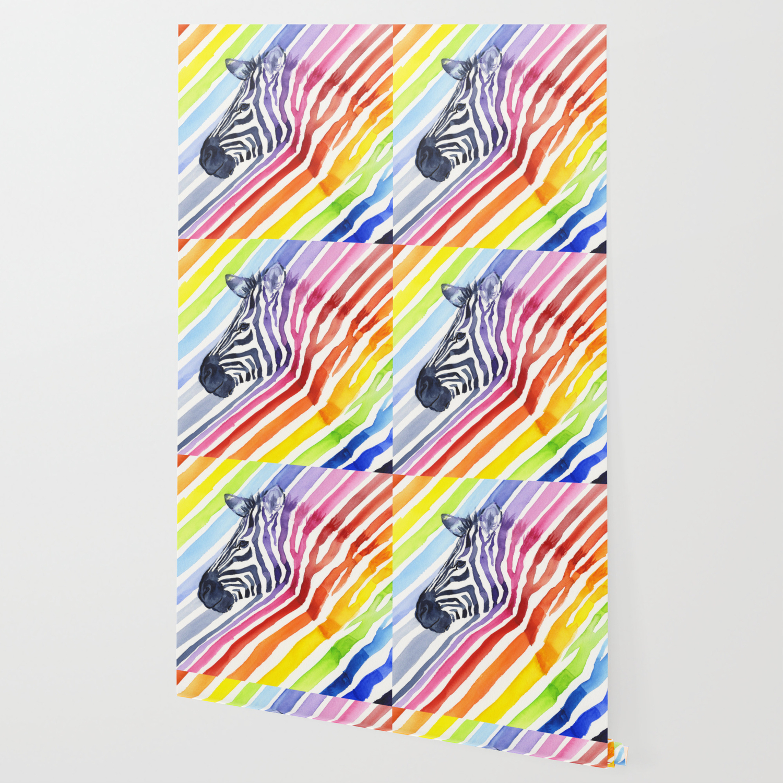 Animal Zebra Rainbow Wallpaper