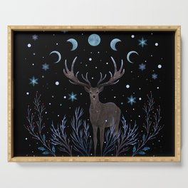 Deer in Winter Night Forest Serving Tray