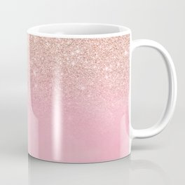 Modern rose gold glitter ombre hand painted pink watercolor Coffee Mug