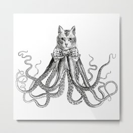 Octopussy | Hybrid Cat and Octopus | Vintage Animals | Black and White | Metal Print