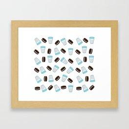 Oreo and milk pattern Framed Art Print