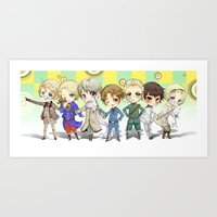 hetalia Art Prints featuring Hetalia by Meaghan Meadows
