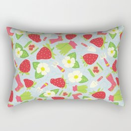 Strawberry Fields Floral Pattern Rectangular Pillow