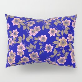 Abstract blush pink brown sky blue flowers Pillow Sham