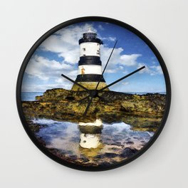 Penmon Lighthouse Painting Wall Clock