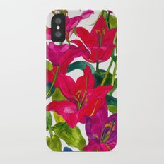 Pink Lilies iPhone X Slim Case