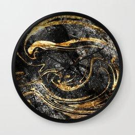 Black & Gold Marble Wall Clock