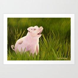 Pig in Grass Art Print