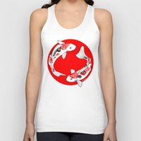 japanese Tank Tops featuring Japanese Kois by Art & Be