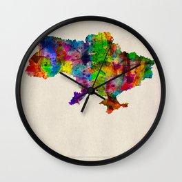 Ukraine Map in Watercolor Wall Clock