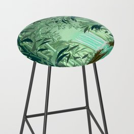 Fluorescent Waterfall on Surreal Bamboo Forest Bar Stool