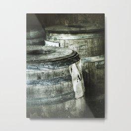 Used wooden old German wine barrels Metal Print